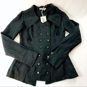 Monoreno Double Snap Charcoal Linen Lace up Jacket